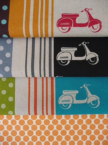 scooter and lotus fabric by Rabbit & the Duck, via Flickr