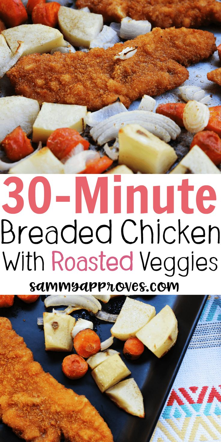 What an awesome recipe! Who knew you could easily have breaded chicken with roasted veggies in 10-minutes. Saving this one for my family dinner rotation!
