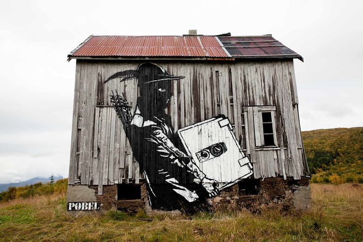 Street art, Pøbel, Lofoten in Norway, 2010