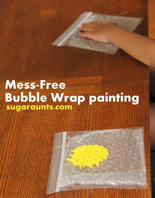 Sugar Aunts: Mess Free Bubble Wrap Painting