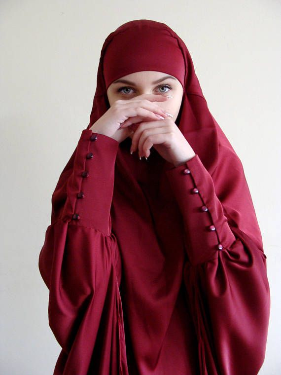 10% OFF Long Silk Khimar muslim dress Burgundy BurqaWedding