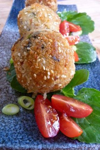 Arancini Risotto Balls with peas, mushroom and spinach