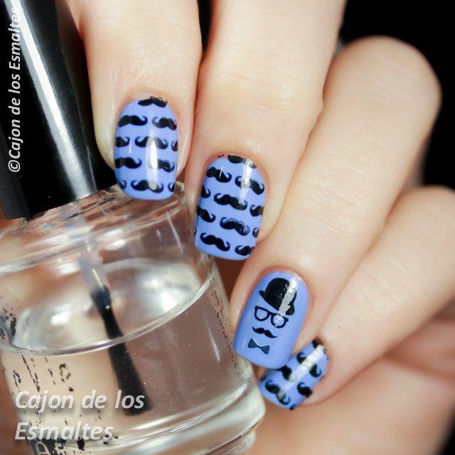 Moustache nail art
