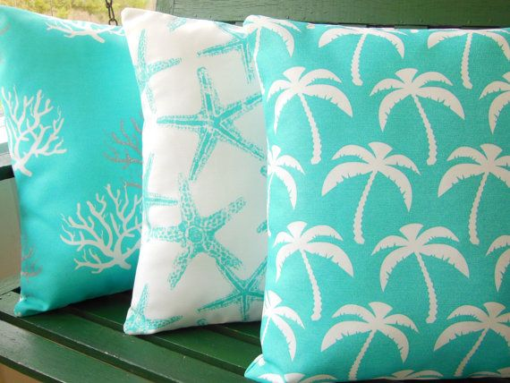 Aqua Pillows OUTDOOR Beach Pillow Covers Aqua Ocean by SeamsToMe23 These would look great in my daughter's beachy room.