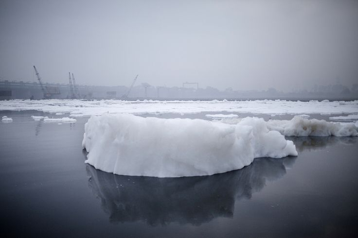 Picture of iceberg of foam from Chemical Waste dumped by factories along the Yamuna river