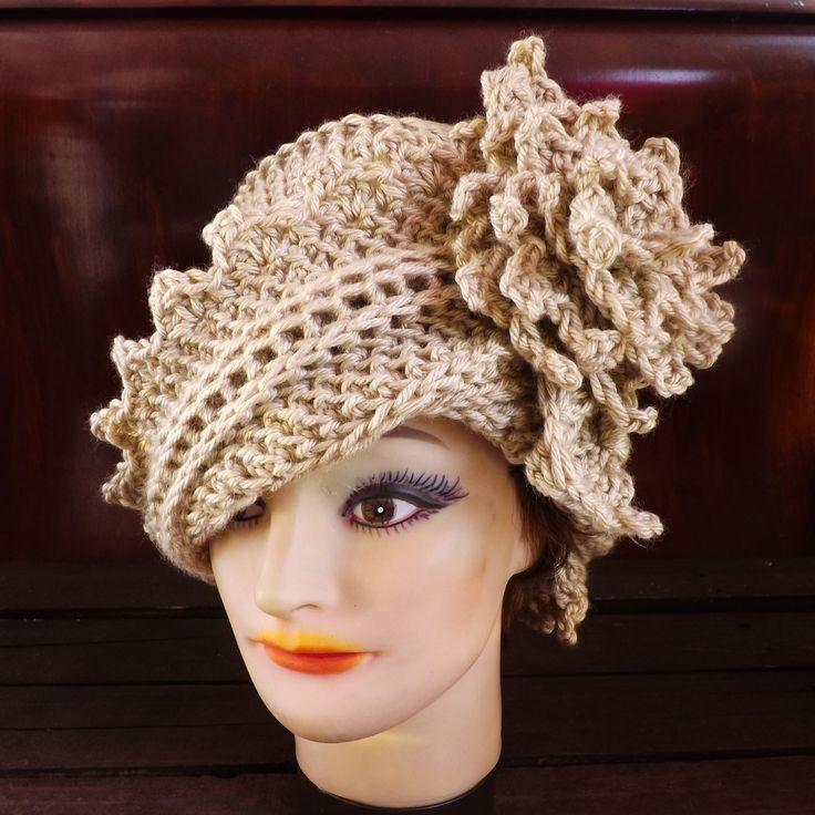 Pattern Crochet Hat With Flower : Hat Crochet Pattern Hat, Crochet Hat Pattern, Womens Hat ...