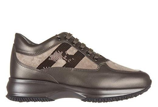 Hogan Damenschuhe Turnschuhe Damen Leder Schuhe Sneakers interactive micro paillette Braun EU 35.5 HXW00N0564067T9997 - Sneakers für frauen (*Partner-Link)