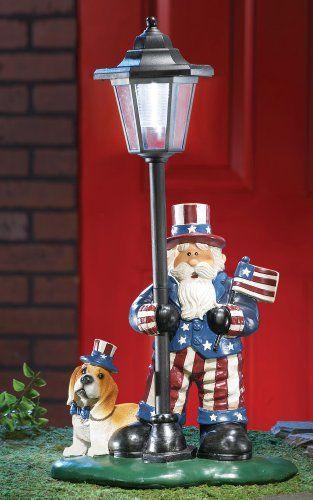 Solar Patriotic Uncle Sam Lamp Post. #Garden #Statue #Sculpture #Decor #