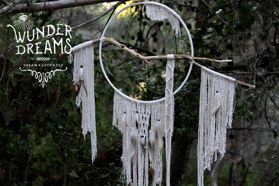 Luyo Large Bohemian / Macrame / Feathered by Wunderdreams on Etsy