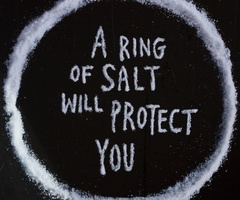 Even though a ring of salt for spiritual protection is common place in most paranormal shows, like Supernatural, I always think of the movie Hocus Pocus.