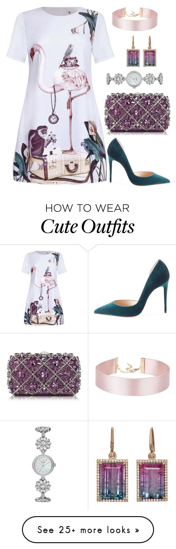 """Cute Outfit"" by sarahlong3019 on Polyvore featuring Irene Neuwirth, Rodo, Christian Louboutin and Kate Spade"