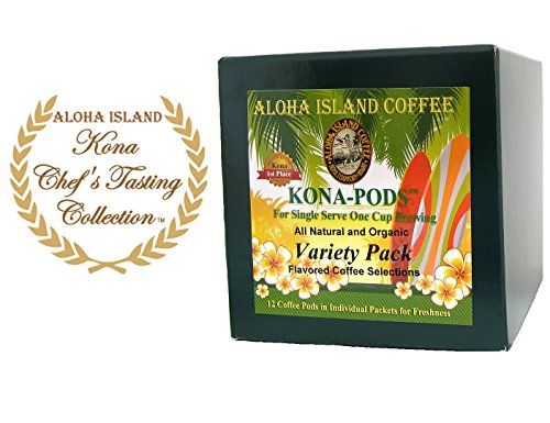 senseo pods chefs tasting size variety pack of flavored kona blend coffee 12 flavored