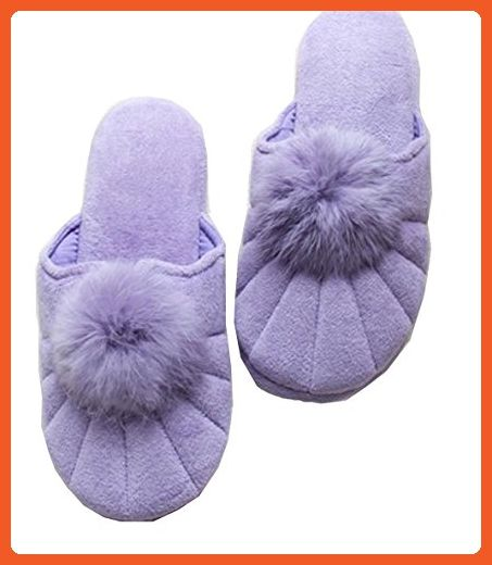 Blubi Women's Candy Color Velvet Cotton Cloth Lined Ladies Slippers Warm Slippers (7.5 M, Purple) - Slippers for women (*Amazon Partner-Link)