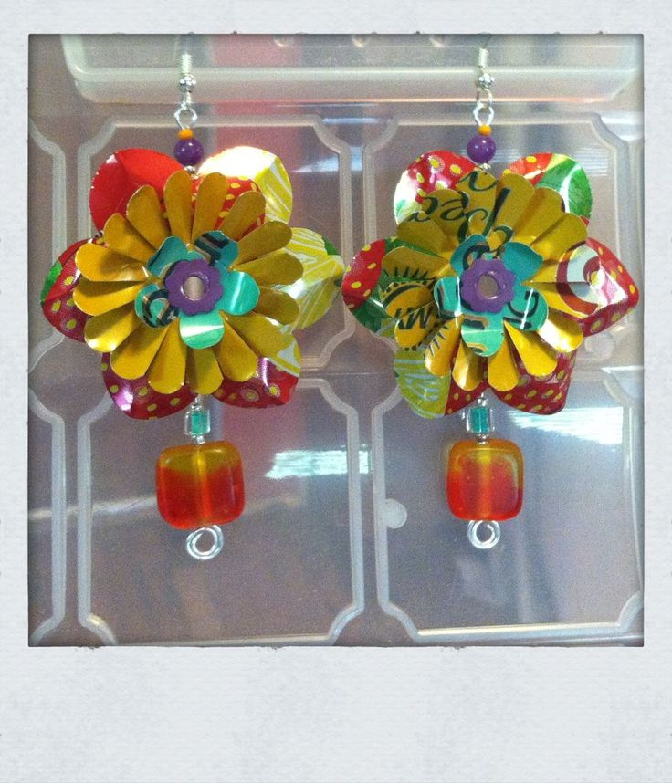 Aluminum Can Flower Jewelry #earrings #reuse #upcycle