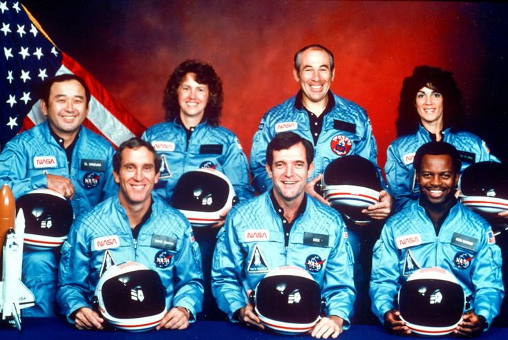 The crew of the space shuttle Challenger. From left: Ellison Onizuka, Mike Smith, Christa McAuliffe, Dick Scobee, Greg Jarvis, Ron McNair and Judith Resnik. (NASA/1986) via Boston Globe