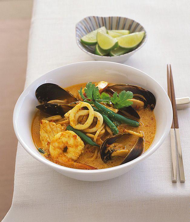 Australian Gourmet Traveller fast Malaysian soup main course recipe for laksa lemak