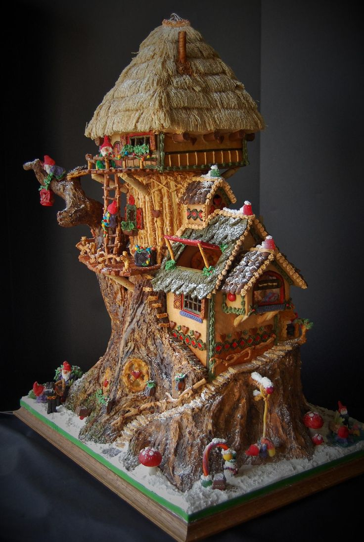 Elf gingerbread treehouse gingerbread houses pinterest for Gingerbread house inspiration