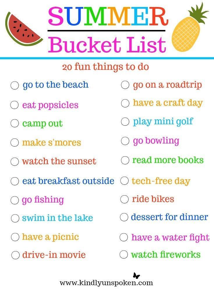 Summer Bucket List 20 Fun Must Do Activities Family Summer Bucket List Summer Fun List Summer Bucket