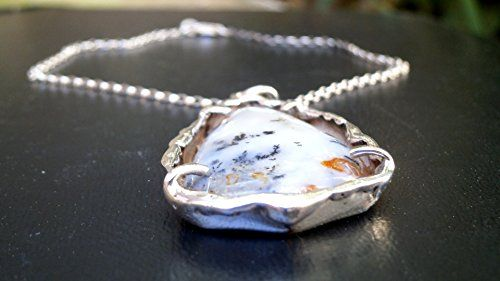 Dendritic Agate - Dendritic Agate Pendant with a High quality sterling silver chain 45cm - Teardrop Silver Pendant , Agate Gemstone Necklace, White-Blue tint, Black-Orange coloring, Melting point technique Jewelry Konstantis Jewelry http://www.amazon.com/dp/B01CLKW1R6/ref=cm_sw_r_pi_dp_hMZ2wb0G46WD1