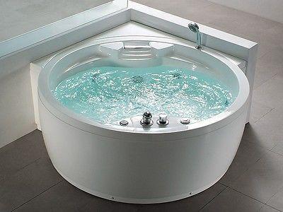 Cute Details zu Whirlpool Badewanne mit Massage Heizung LED Wasserfall Ozon Radio Eckwanne rund