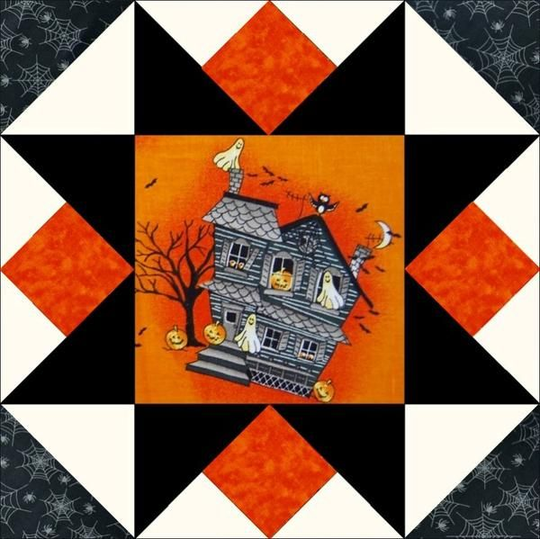 This quilt kit is a longtime favorite among our customers. Cotton fabrics are fussy cut spooky Haunted Halloween houses in shades of gray and black on an orange