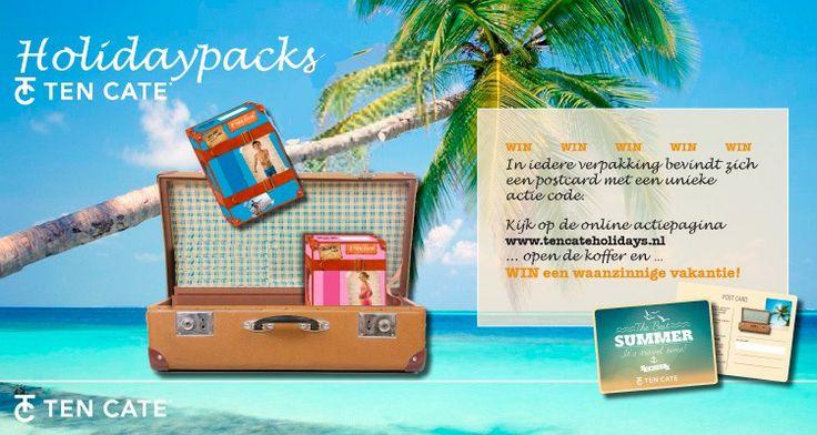 It's Travel Time! Ten Cate Holidays! Koop een item uit de TC Holidaypack kinderondergoed collectie bij www.underfashion.nl en maak kans op waanzinnige prijzen! In iedere verpakking bevindt zich een unieke actiecode. Hiermee kan je naar www.tencateholidays.nl en je vakantiekoffer openen. Door de koffer te openen kan je waanzinnige prijzen winnen!  Hoofdprijs: Een onvergetelijke vakantie met het hele gezin t.w.v. €2500,-  Doe mee en koop meteen een Ten Cate Holiday pack voor kids bij…