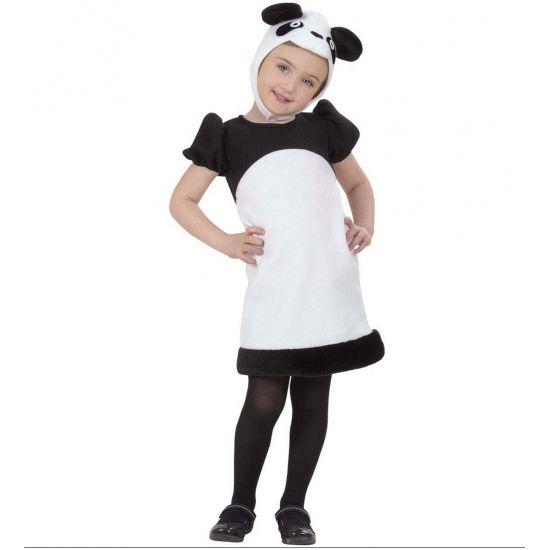 Panda jurkje voor kleuters. Schattig panda kostuum voor kleine kinderen. Dit panda pakje bestaat uit het jurkje en het mutsje dat onder de kin is vast te zetten.