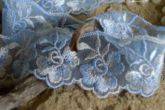 blue-white lace 3.5cm wide flower design by TheQuiltedCheese