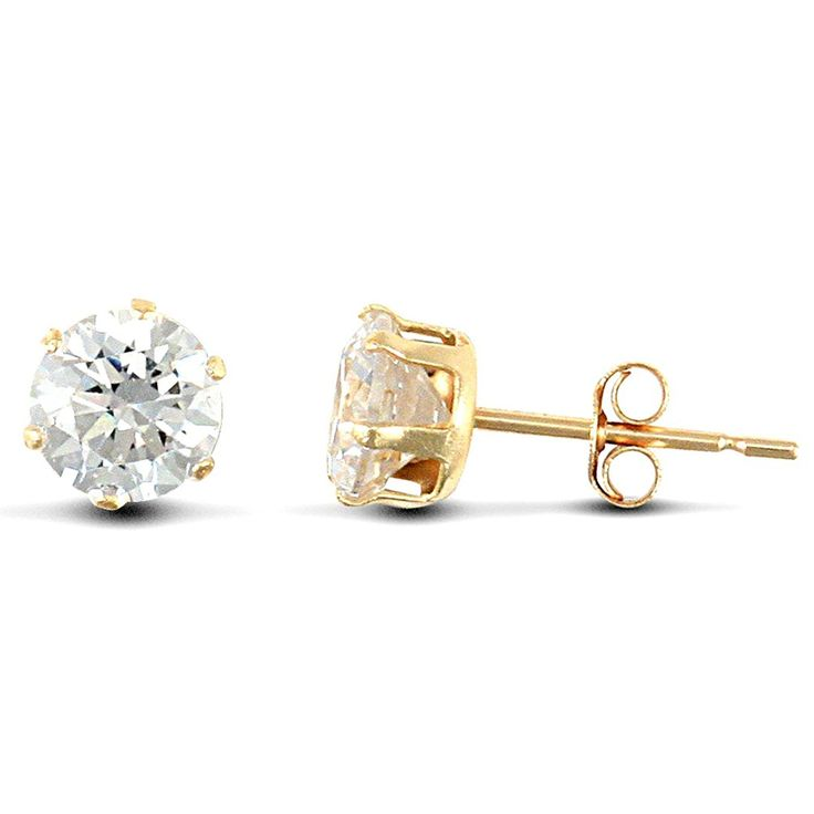 Jewelco London Ladies 9ct Yellow Gold White Heart Cubic Zirconia Rub Over Solitaire Love Heart Stud Earrings mD0Rqml