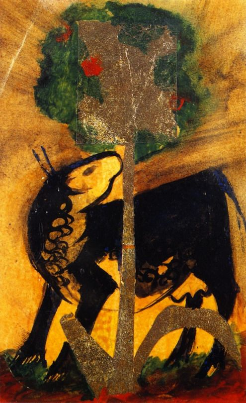 Black Cow behind a Tree    Franz Marc, 1913