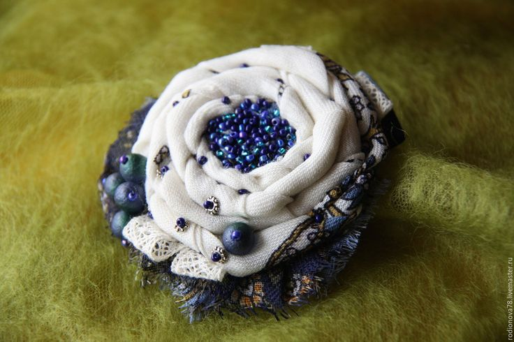 """Купить Брошь-бохо """"Под звездным небом"""" - цветок из ткани, украшения ручной работы"""