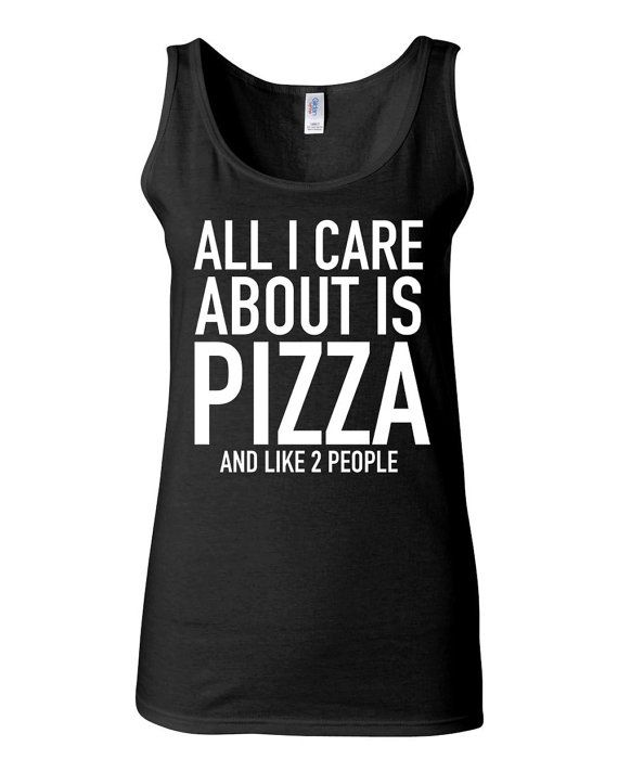 Funny T Shirt - All I Care About Is Pizza and Like 2 People - Work Out Clothes for Women by KimFitFab, $22.00