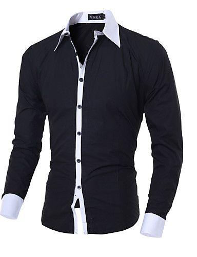 Camisa De los hombres Un Color / Retazos Casual / Trabajo / Formal-Algodón / Poliéster-Manga Larga-Negro / Azul / Rosa / Blanco / Gris 5025334 2017 – $28.563
