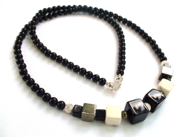 Mens Necklaces – Mens Necklace - Onyx, Howlite, 925 sterling silver – a unique product by OlgaJewelryBoutique on DaWanda