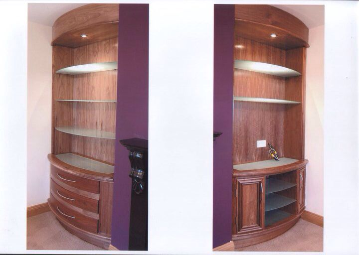Curved walnut sitting room units with curved drawer fronts and opal glass shelving# euro craft construction