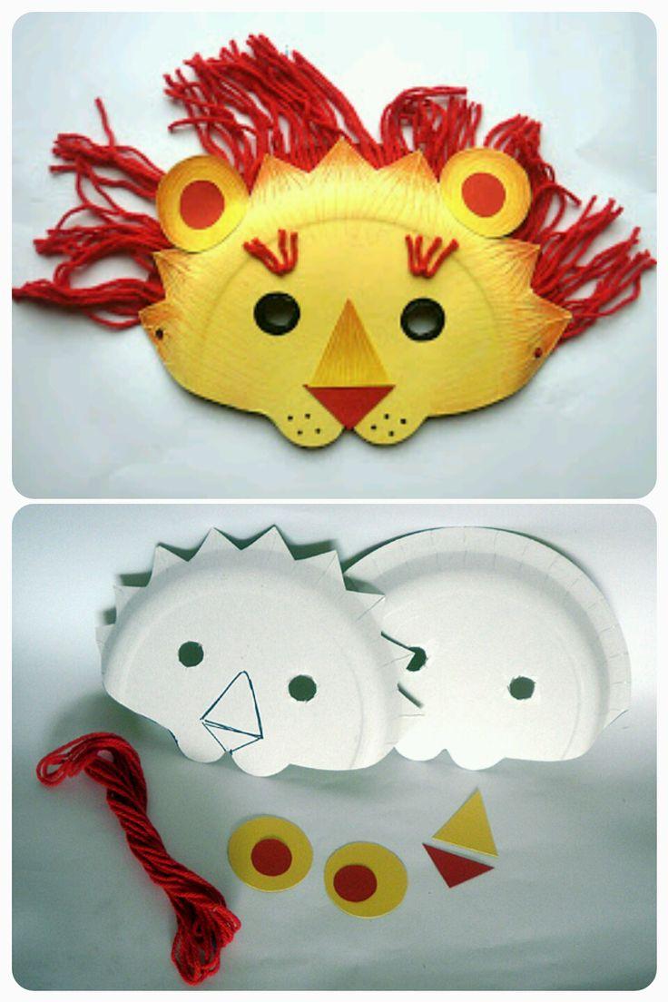 Masque Lion Carnaval Assiettes Carton