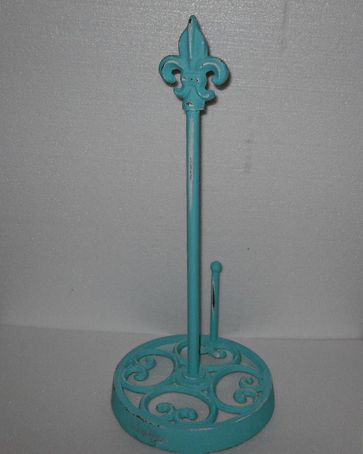 Paper Towel Holder Fleur De Lis Cast Iron Teal Blue