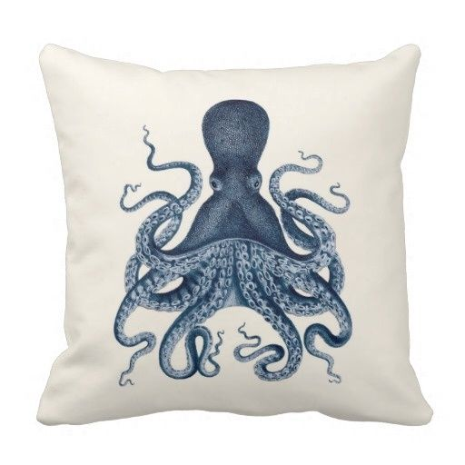 Surprised Navy Blue Octopus Illustration On Cream Pillow Case (Size: 45x45cm) Free Shipping