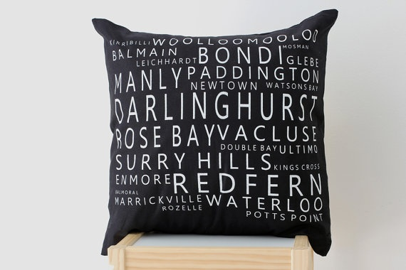 Sydney Suburbs Screen Printed Cushion Cover by raenne on Etsy, $15.00