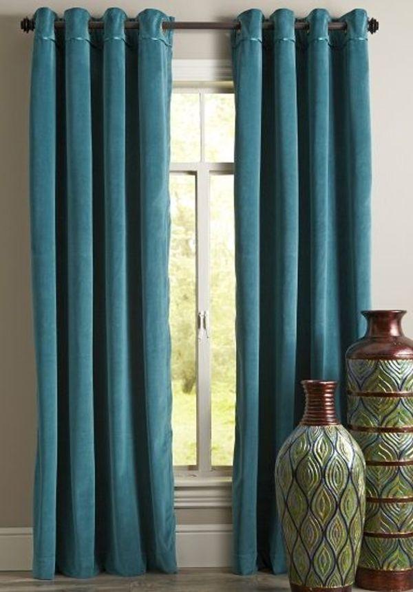 gardine blickdicht türkis vorhänge farbideen