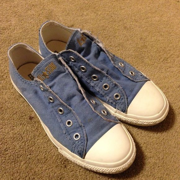 Light Blue no lace converse Barely worn Converse Shoes Sneakers