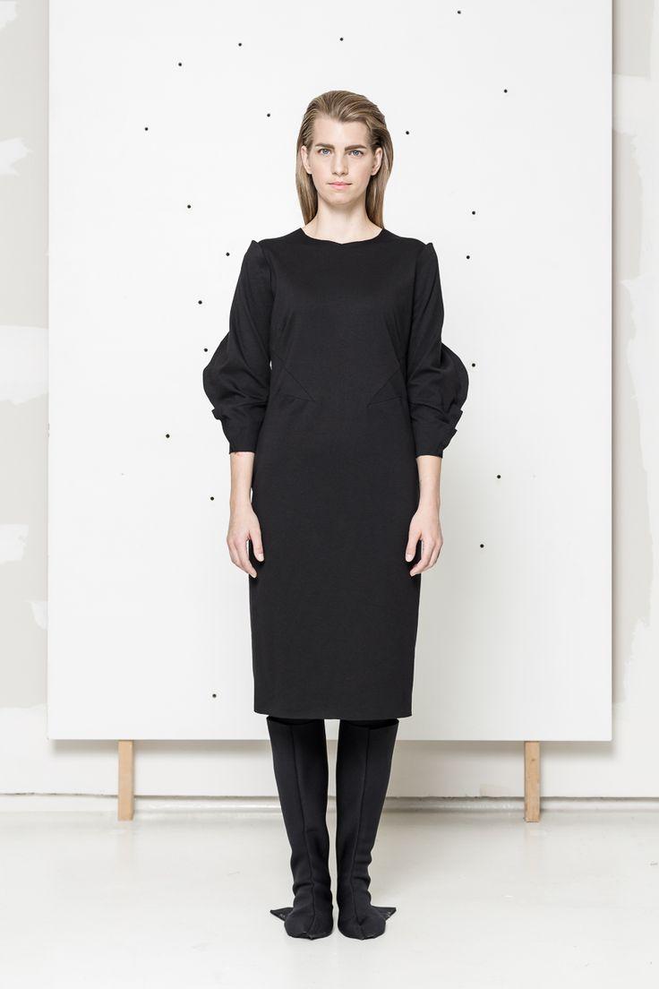 Black dress with original cut www.hanazarubova.cz