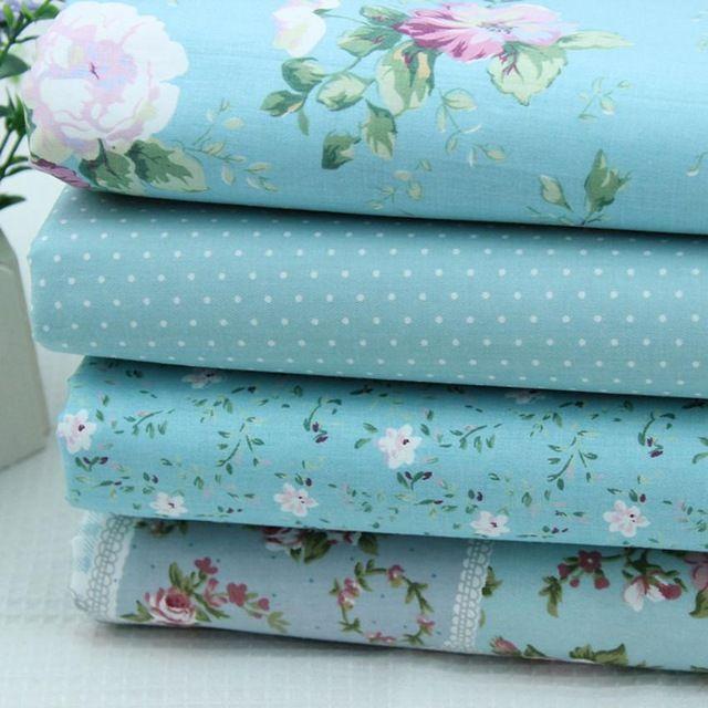 25 * 25 cm, 50 * 50 CM 4 mezcla de colores tela de algodón azul de impresión flores patchwork costura tissus Seriers paño bricolaje colchas finas, textiles para el hogar