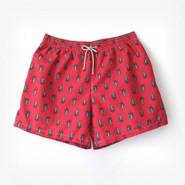 €39.95 Red Cactus swim short / Bañador de hombre Ocoly rojo de cactus