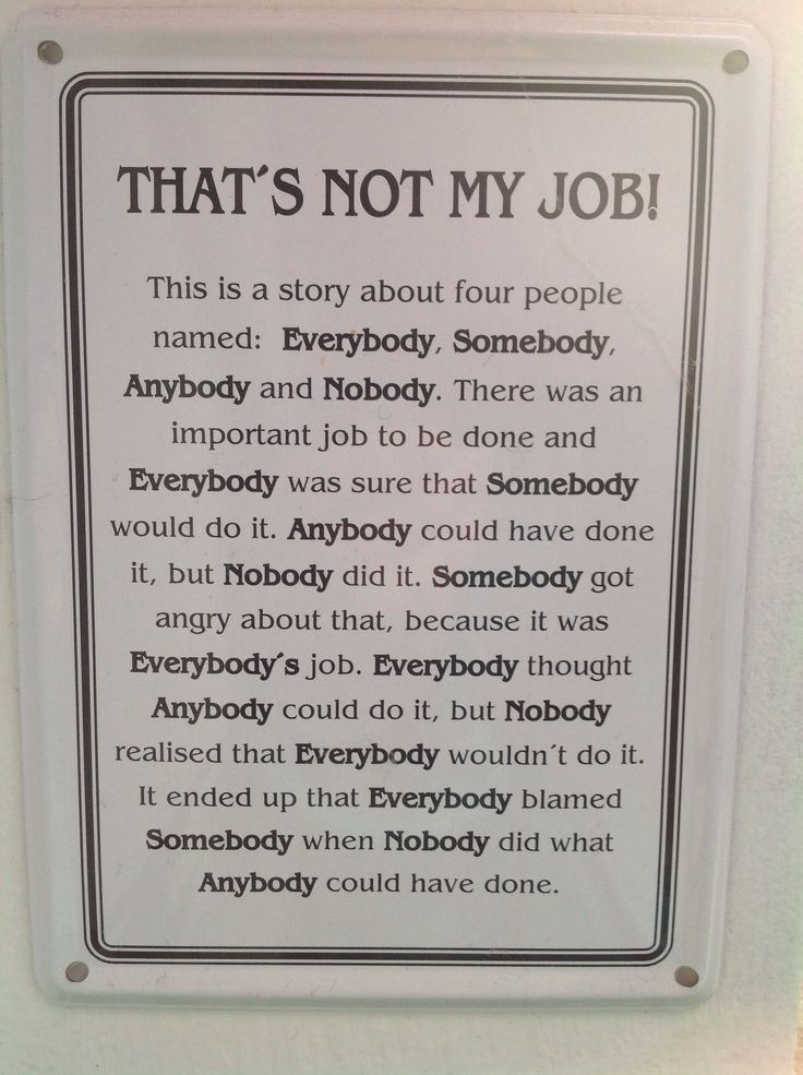 That's not my job story about 4 people named Everybody ...