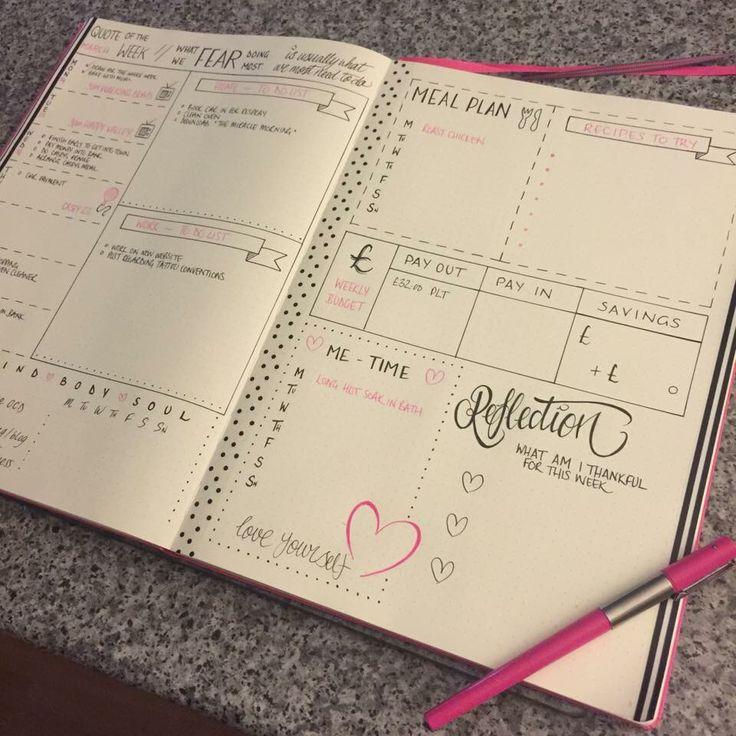 Bullet journal layout