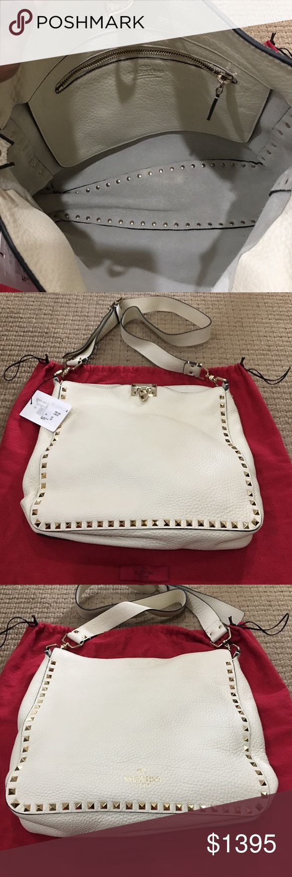 Authentic Valentino crossbody bag Authentic Valentino crossbody bag.   Color: ivory Hardware: gold Leather: pebbled Condition: Brand New; never worn Valentino Garavani Bags Crossbody Bags