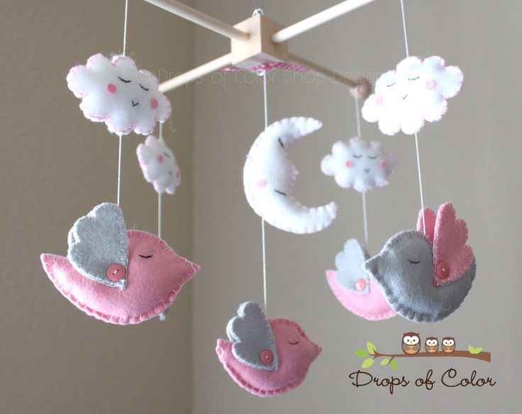 "Baby Crib Mobile - Baby Mobile - Bird Mobile - Girl Nursery Mobile ""Five little birds sleeping at night"" (You can pick your colors) by dropsofcolorshop on Etsy https://www.etsy.com/listing/71527758/baby-crib-mobile-baby-mobile-bird-mobile"