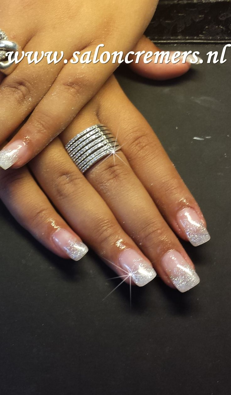 French manicure naturaly glittery faded nails