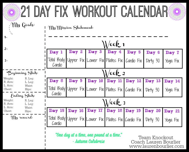 21 Day Fix workout calendar - Lauren Bourlier